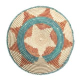 Image of 1970's African Flat Weave Coil Basket With Orange and Teal Star and Sun Pattern For Sale