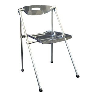 Mid Century Modern Lucite & Chrome Folding Side Chair 1960s Castelli Style For Sale