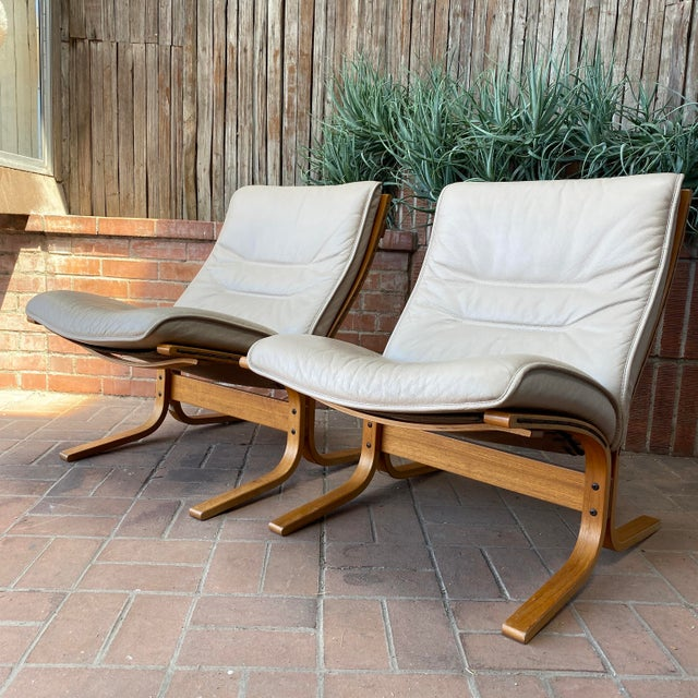 Mid-Century Modern Vintage Westnofa Ingmar Relling Design Leather & Bent Wood Lounge Chairs - a Pair For Sale - Image 3 of 13