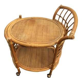 Vintage Wicker Bamboo Tea Drink Cart For Sale