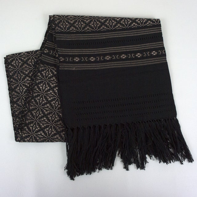 Oaxaca Handwoven Black Copper Tassel Table Runner - Image 3 of 3