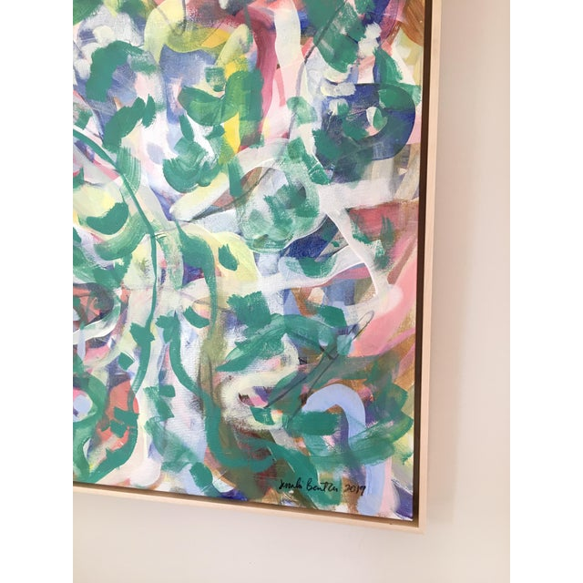 Original painting by contemporary artist Jessalin Beutler. Acrylic on stretched canvas with its own natural wood floating...