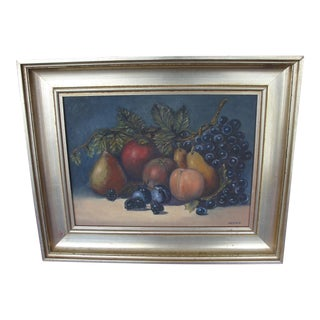 Vintage Still Life Oil on Canvas Painting by Mather For Sale