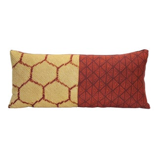 Red & Gold Silk Kimono Pillow For Sale
