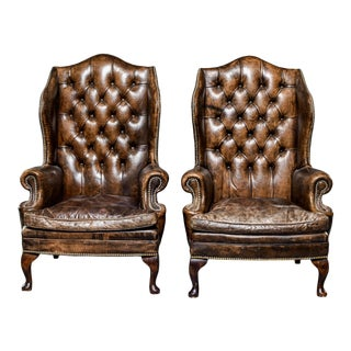 English Chesterfield Tufted Leather Wingback Chairs - Pair For Sale