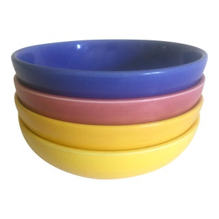 1940s Vintage Art Deco Homer Laughlin Harlequin Multicolor Salad Pasta Bowls - Set of 4