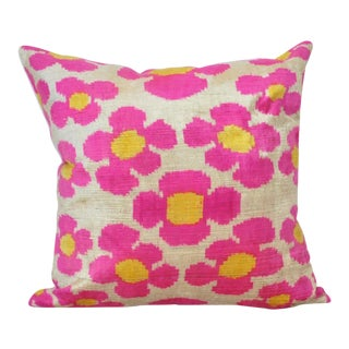 Pink Flower Power Throw Pillow For Sale