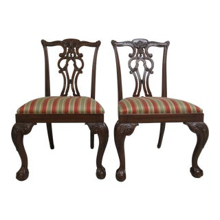 Ethan Allen 18th Century Mahogany Chippendale Dining Chairs - A Pair