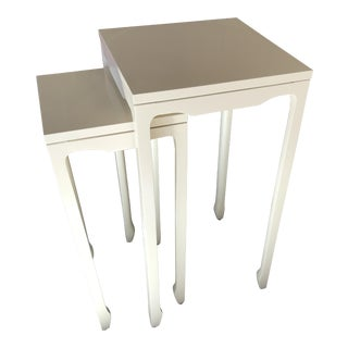 Baker Furniture Off White Lacquer Two Tier Nesting Tables - A Pair