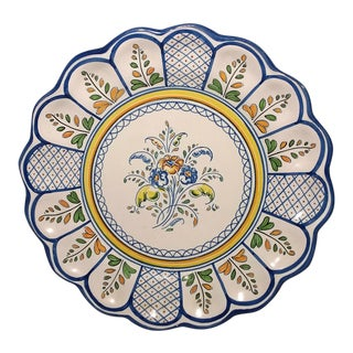 Mexican Talavera Blue & Yellow Faience Plate For Sale