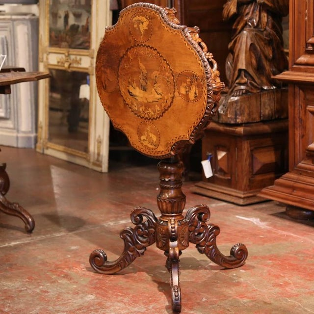 19th Century Swiss Black Forest Carved Walnut Side Table With Deer Inlay Scenes For Sale In Dallas - Image 6 of 10