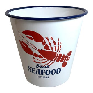 Vintage Enamel Seafood Bucket For Sale