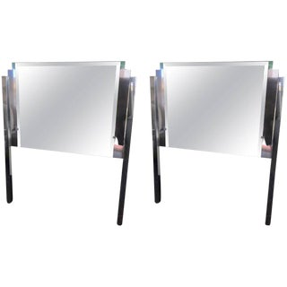 Custom-Made Mirror & Chrome Hollywood Regency Twin Headboards - a Pair For Sale