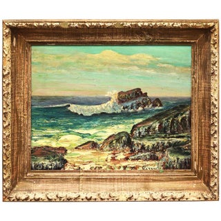 Framed Rocky Beach Seascape Oil Painting, Signed For Sale