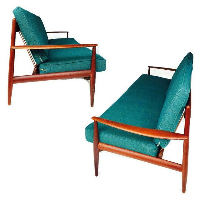 Mid-Century Modern Danish Teak Sofa Turquoise Cushions For Sale - Image 5 of 10