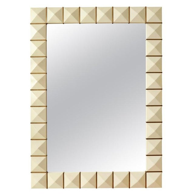 Custom Geometric Parchment Mirror With Inlaid Brass For Sale In New York - Image 6 of 6