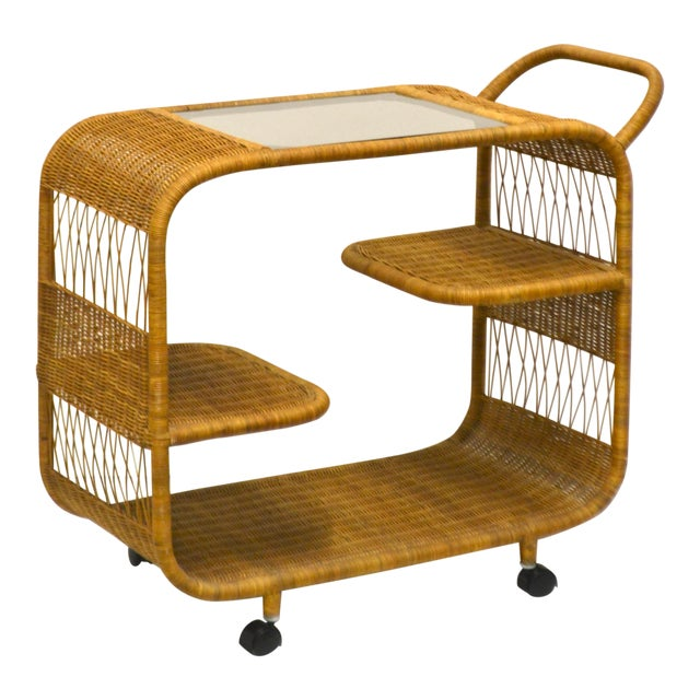 1960s Mid-Century Woven Rattan Bar Cart For Sale
