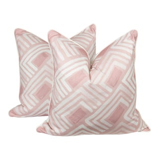 Blush Abstract Linen-Blend Pillows, a Pair For Sale