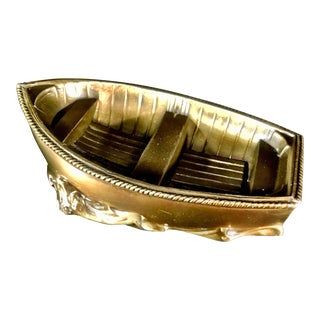 1950s Vintage Nautical Brass Rowboat/Skiff For Sale