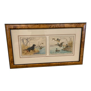 "Vintage Mezzotint ""En Point"" and ""Arrival"" L Dual Print in Burled Wood Frame, Paul Wood For Sale"