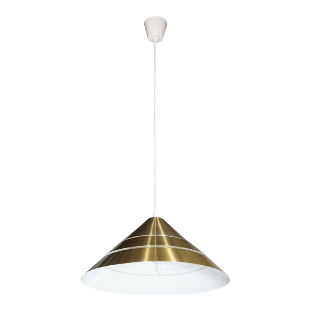 Mid-Century Brass Cone Ceiling Pendant by Hans-Agne Jakobsson For Sale