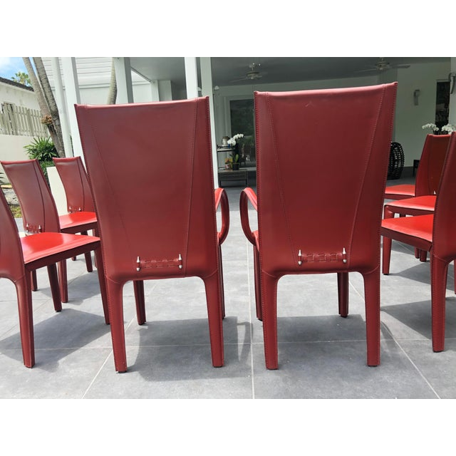 Red 1970s Mid-Century Modern Italian Leather Dining Chairs- Set of 10 For Sale - Image 8 of 9