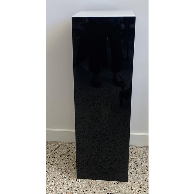 This black and white illuminated Lucite pedestal was a custom made piece in the 1990s. Note: Requires one Edison based...