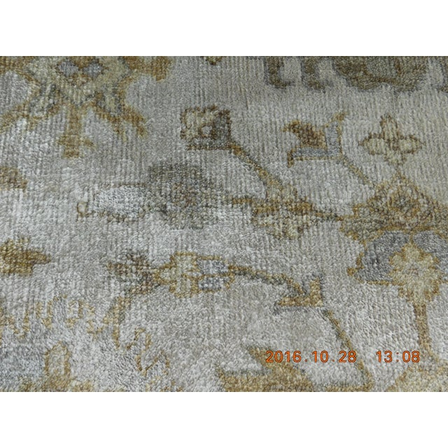 "Hand Knotted Bamboo Silk Indo Ushak Rug -7'10""x 10' For Sale - Image 9 of 9"