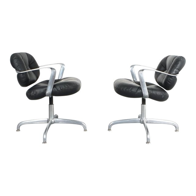 Pair Morrison and Hannah Knoll Office Chair Aluminum Black Leather, 1975 For Sale