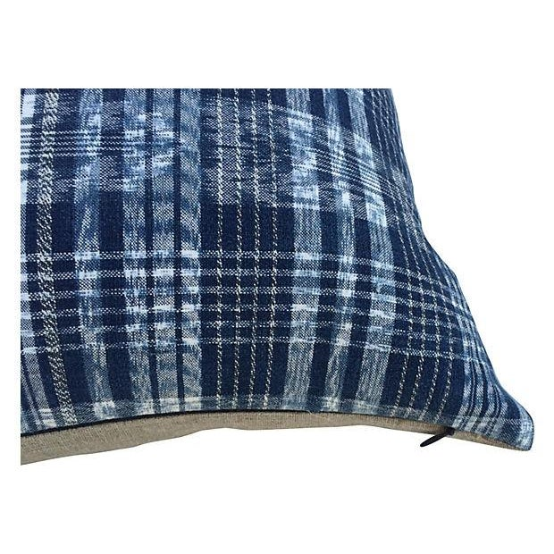 Boho Chic Indigo Blue & White Ikat Pillows - a Pair For Sale - Image 3 of 6