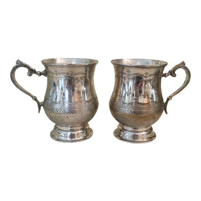 Vintage Silver Plated Etched Mugs/Tankards - Pair For Sale
