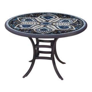 """Grigio 60"""" Bistro Table with Black Base For Sale"""