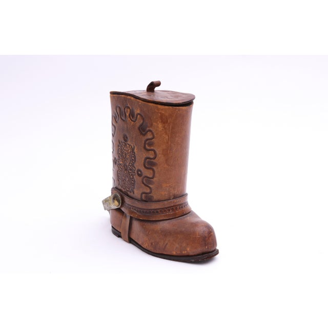 Genuine Leather Cowboy Boot Cigar / Tobacco Canister For Sale - Image 5 of 7