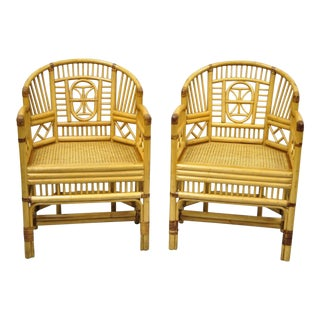 Vintage Brighton Pavilion Style Bamboo & Cane Rattan Arm Chairs- A Pair For Sale