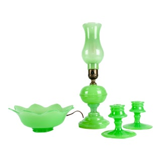 4-Piece Green Milk Glass Vanity Set For Sale