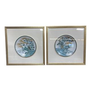 Framed Imari Japanese Bird Plates - a Pair For Sale