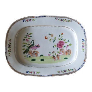 Extra Large Early 19th C Coalport Peacock Pattern Platter For Sale