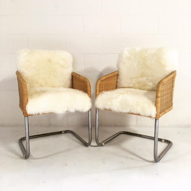 Woven Sheepskin Cushion Chairs - Pair - Image 2 of 6
