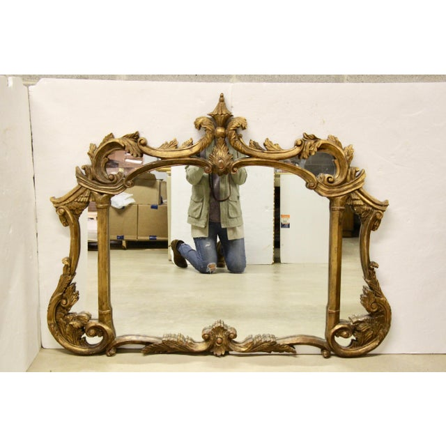 Gold Italian Carved Giltwood Mirror For Sale - Image 8 of 8
