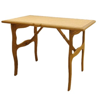 Cane Top Folding Tea Table