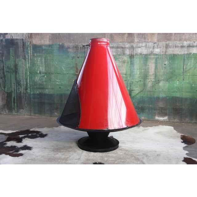 1960s Mid Century Original Malm Preway Eames Era Wood Burning Red Freestanding Fireplace For Sale In Madison - Image 6 of 12
