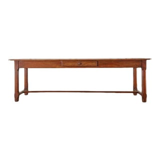 19th Century French Provincial Fruitwood Farmhouse Dining Table For Sale