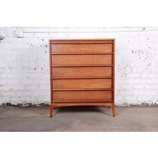 Lane Rhythm Mid-Century Modern Sculpted Walnut Highboy Dresser Preview