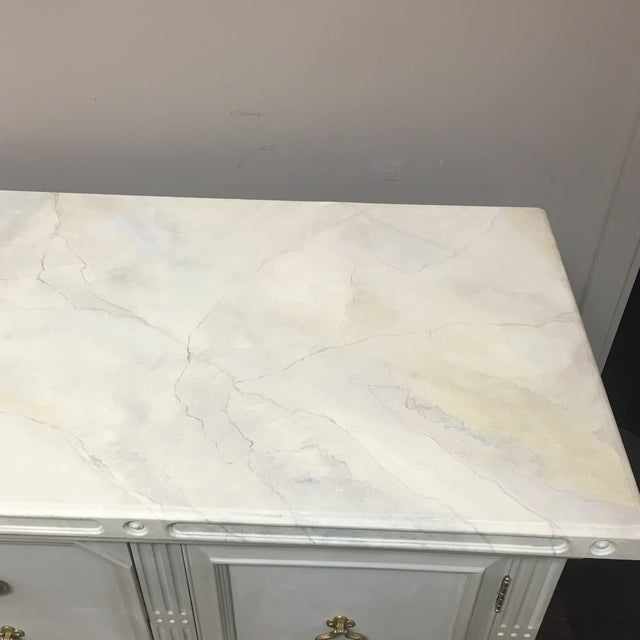 Custom Painted Faux Marble Top Sideboard For Sale In Richmond - Image 6 of 11