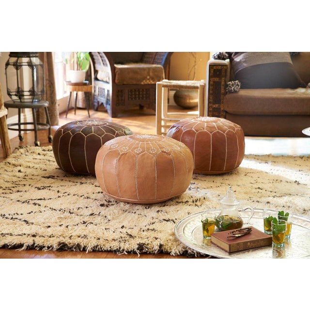 Embroidered Leather Pouf, Chestnut Starburst Stitch For Sale - Image 5 of 5