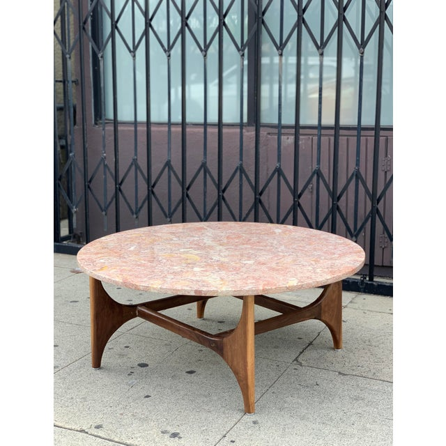 Contemporary Rose Marble Top With Walnut Base Coffee Table For Sale - Image 3 of 13