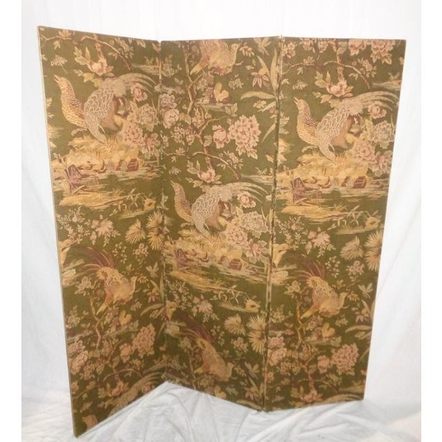 Vintage Olive Green Pheasant Fabric Room Screen - Image 2 of 4