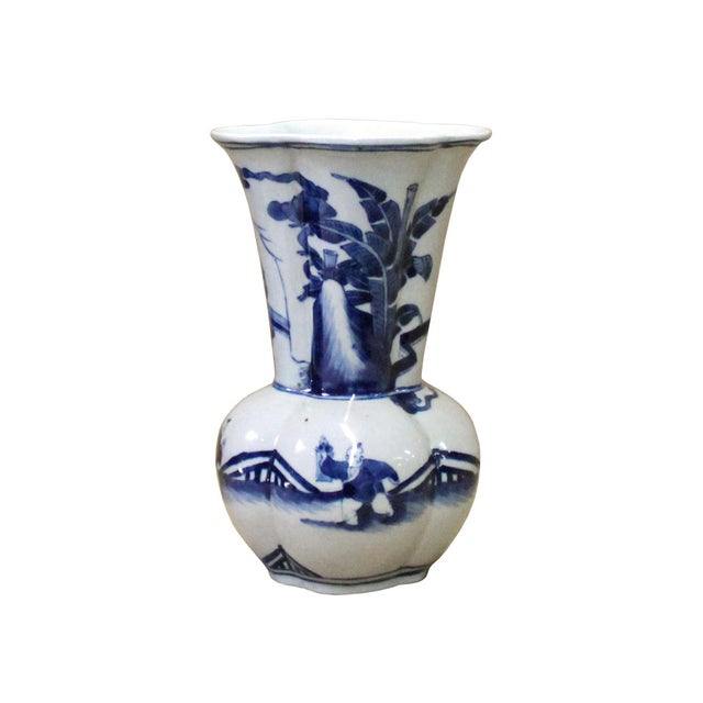 2010s Chinese Blue White Porcelain Flower Shape People Scenery Vase For Sale - Image 5 of 8