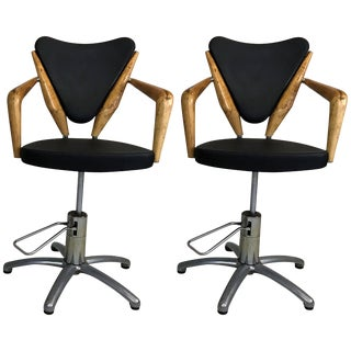 Pair of Mid-Century European Hydraulic Salon Chairs Attributed to Ico Parisi For Sale