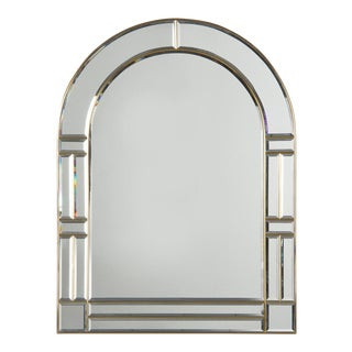 1970s Vintage Italian Beveled Glass Mirror With Brass Frame For Sale